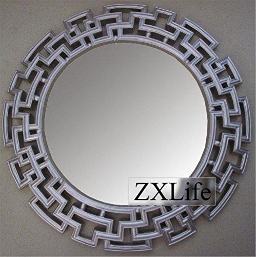 Kommode Runde Spiegel (ZXLIFEMakeup Spiegel ® Europäischen Retro Spiegel Hintergrund Wand dekorative Spiegel hängenden Spiegel Kommode Spiegel Badezimmer Spiegel großen runden Spiegel, D)