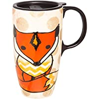 Fun Fox Ceramic Travel Coffee Mug With Matching Gift Box