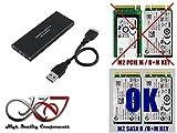 Kalea Informatique – Carcasa M2 en USB3 (USB 3.0 Super Speed) – compatible con los 4 formatos: 2230/2242/2260/2280 – para SSD m.2 NGFF tipo SATA B Key