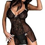 JiaMeng Lencería sexy 2018,Las Nuevas Mujeres Bowknot se Ven Sexy out Clubwear Dress Nightdress Sexy Underwear (S, Negro)