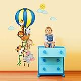 wall art R00253Adesivo da Parete per Bambini Heißluftballon der kleinen con Mongolfiera e Cuccioli, Dimensioni: 30 x 90 cm, Multicolore
