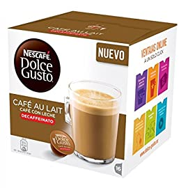 Nescafe DOLCE GUSTO Pods / Capsules – CAFE AU LAIT DECAF = 16 pods (pack of 3)