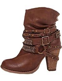 1e2caeebe47d6 Minetom Bottes De Femme Chaussures Hiver Cheville Boots Chaudes Bottines  Rétro Mignons Mode Rivet Bottine Talon