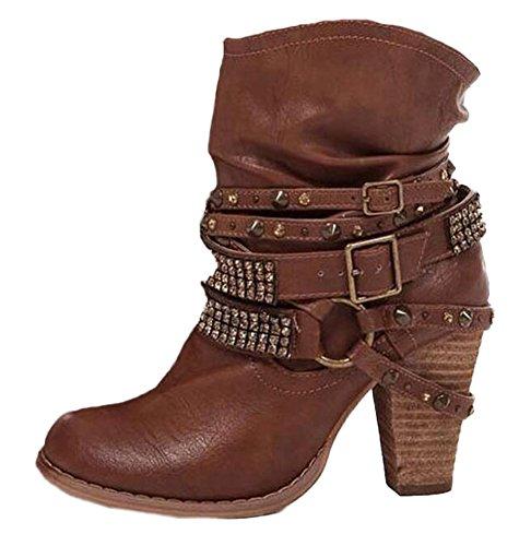Minetom donna inverno stivali scarponi da neve moda sexy casual elegante rivetto scarpe con tacco alti tacchi alti boots stivaletti marrone eu 43