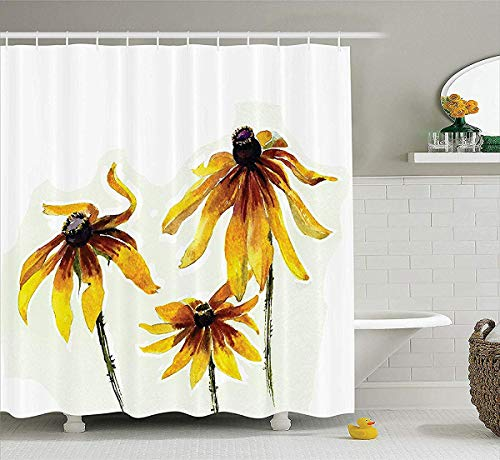 Watercolor Flower Decor Shower Curtain Set, Garden Daisy Flowers in Soft Painting Effect Dramatical Nature Mod Graphic, Bathroom Accessories, 72W x 79L Inch Bath Curtains Extra, Yellow White -