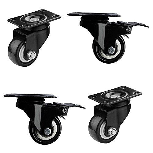 4 Stück Caster Set (2 Paar Lenkrollen mit Bremse & ohne Bremse Set (4 Stück) 50mm 2 zoll Schwenkrollen Schwerlastrollen Bürostuhlrollen Drehstuhlrollen Trolley Möbel Caster Räder Schwarz)