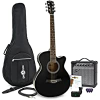 Guitarra Electroacústica Single Cutaway + Pack de Ampli de 15W - Negro