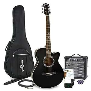 Pack Guitare Électro Acoustique Pan Coupé Noir + Ampli 15W par Gear4music