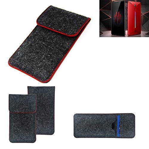 K-S-Trade® Filz Schutz Hülle Für -Nubia Red Magic Mars- Schutzhülle Filztasche Pouch Tasche Case Sleeve Handyhülle Filzhülle Dunkelgrau Roter Rand