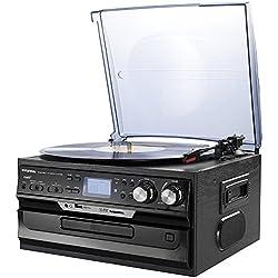 Hyundai Retro Cadena Musical Nostalgie Diseño ANL equipo estéreo compacto Estimada Center Función de grabación Tocadiscos CD/MP3USB/SD Radio FM/AM pantalla LCD láser Jugadores