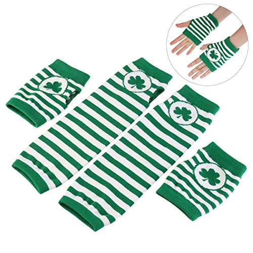 St. Patrick's Day Accessories Costume Gloves Shamrock Fingerless Arm Warmers Unisex - 2 Pair
