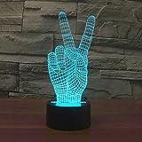 Veilleuse LED 3D Lampe Optique Illusion La Victoire Enfant Lampe de Nuit pour Chambre Chevet Fille Fils Cadeau Anniversaire Surprise Deco Ambiance Créatif,Interrupteur Tactile