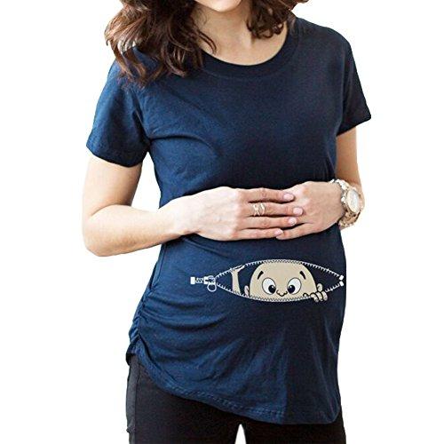 Gagacity Kurzarm-Schwangere Frauen Pullover T-Shirt Umstandsshirt Baby Guckt Raus Blaue/3XL