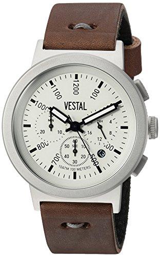 Vestal Men's 'Retrofocus Chrono Makers' Quartz Stainless Steel and Leather Dress Watch, Color:Brown (Model: RETMAK003)