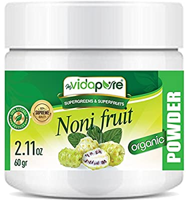 Organic NONI Fruit Powder. 100% Pure Natural RAW Gluten Free, Raw, Non-GMO. Super Foods and Dietary Supplement. for Health, Baking, Skin and Hair. 2.11 oz – 60 G. myVidaPure
