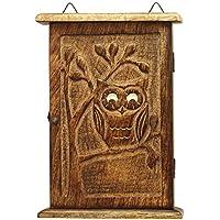 SouvNear 24.38cm intagliato a mano in legno, a forma di gufo con occhi Pazzi–Decorazione da parete portachiavi rack-decorative portachiavi–Scatola accessori per la casa