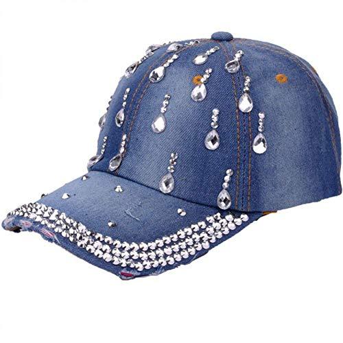 Baseball Cap Fashion Denim Womens Baseball Hüte gewaschen getragen Visier Hut Jugend Baseball Cap Mädchen Strass Rivet Cap Persönlichkeit Hut (Farbe: Medium blau, Größe: One Size) - Womens Denim-baseball-hüte