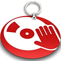 JasonCarlMorgan JCM Graphics DJ Music 76mm Magnetic Keyring, Carbon Red