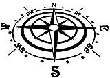 Generic Kompass Aufkleber in Verschiedenen Größen Windrose Aufkleber für Caravan Wohnmobil Wohnwagen Auto oder als Wand Tattoo (35/6) (30cm Länge, schwarz Glanz)