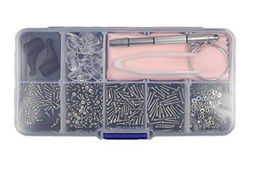 ShipeeKin Brillen Reparatur Werkzeuge Kit (Winzige Schrauben Muttern und Silikon Nasenauflagen Nasen Beläge Sortiment mit Pinzette Mikro-Schraubenzieher)