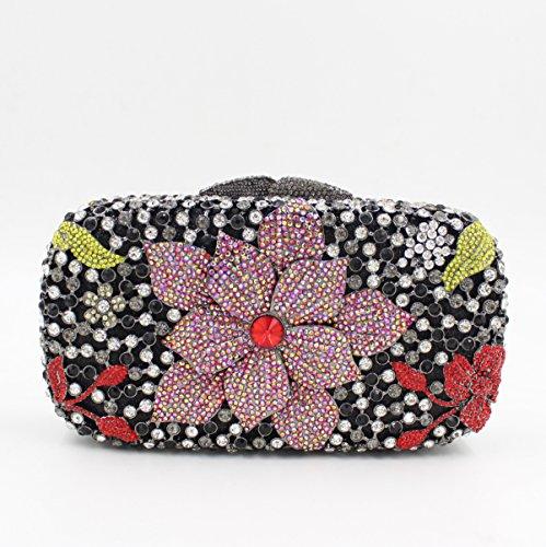 Damen Abendtasche Diamant-Inlay Diamant-Mappe Hand Bankett Tasche Kristall bohren voll color 3