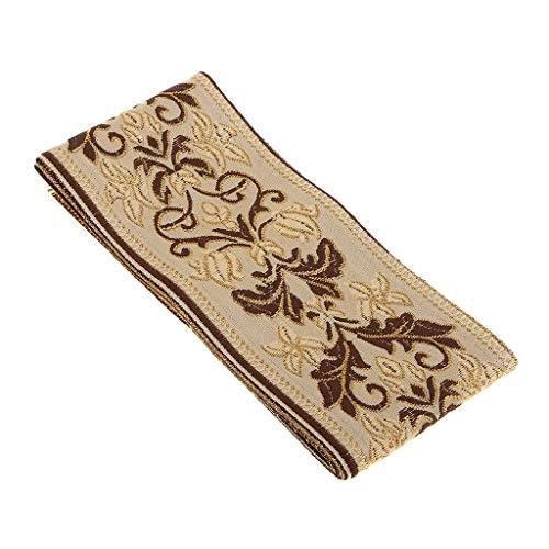 B Blesiya 5 Meter Retro Borte Stoffborte beige Webband Stoffbänder Nähen Band Kurzwaren, Schöne Bänder zum Geschenke basteln - 60 mm x 5000 mm - Beige Borte
