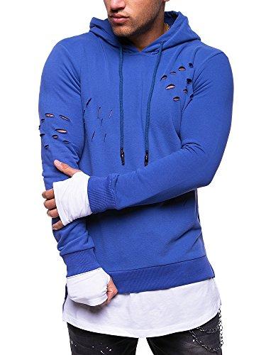 MT Styles 2in1 Longline Hoodie Destroyed Pullover Kapuzenpullover MT-011 [Blau, M]