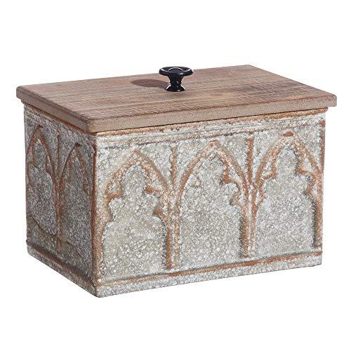 LOLAhome Caja de Madera y Metal Decorativa Rectangular Beige Shabby Chic de...