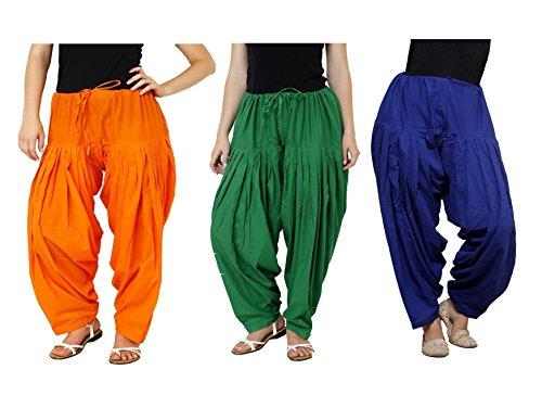 K\'s Creations Combo of 3 Womens Solid Cotton Mix Best Indian Ethnic Comfortable Readymade Punjabi Semi Patiala Salwar