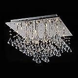 Lightess Lustre en Cristal Moderne Finition Chromée Plafond Pendentif Luminaires Lampe suspension décorative pour Chambre Bureau Salle à manger Chambre à coucher Salon Hôtel