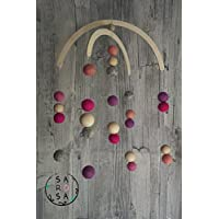 Mobile Holz Filz | Perlen Kugel natur