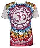 Mirror Herren T-Shirt - Magie Des Aom Größe M L XL Om Symbol Hinduismus Psychedelic Art Lotus Kunst (Hellgrau M)