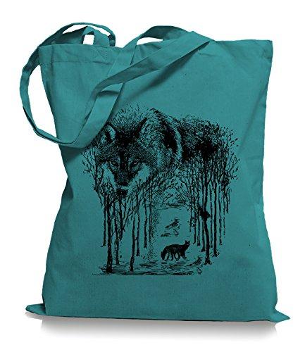 Ma2ca® Wolf Forrest - Jutebeutel Stoffbeutel Tragetasche / Bag WM101 Emerald