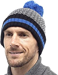 Mens Fairisle Design Chunky Knitted Warm Winter Bobble Beanie Hat GL374