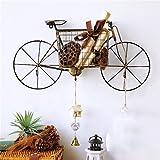 Retro Bike Modeling Wall Shelf Metal Iron for Bar Sala de estar | LOFT estante del cubo colgante de pared para el dormitorio como estante de almacenamiento de estantería | Cuadro de unidad flotante como diseño de decoración de pared Estilo industrial de época ( Color : Negro )