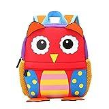 Ducomi® Zoolander - Simpatico Zaino Unisex in Neoprene per Bambini da 1 a 7 anni - Ergonomico, Leggero e 3D Design - Idea Regalo di Natale per Bambini e per i Più Piccoli - 25 x 24 x 9 cm (Owl)