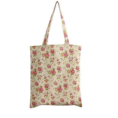 Nuni Damen Schultertasche/Einkaufstasche aus Baumwollleinen mit Rosen-Blumenmuster, Beige (Zip Closure), Medium -