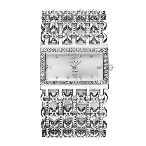Ajouré Montres Bracelet Large, Cadran Rectangulaire Echelle Strass Luxe Montres Bracelet pour Femme, Argent