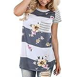 CAOQAO Frauen Gestreiftes T-Shirt mit Blumenmuster(Grau,M)