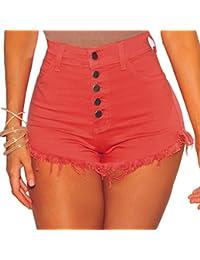 iBaste Shorts Damen Kurz Hose mit Quaste Pants Mini Hotpants Strandhose Sommerhosen