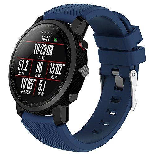 Gaddrt Bande pour HUAMI Amazfit Stratos Smart Watch 2, Soft silicagel Sports bracelet montre bande (Bleu marine)