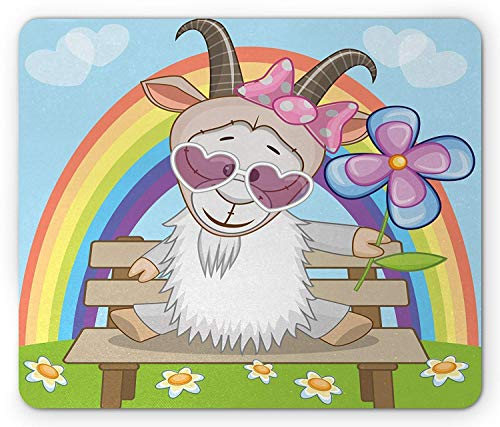 Drempad Gaming Mauspads, Goat Mouse Pad, Colorful Animal with Heart Shaped Glasses and Horns Sitting on a Bench Under a Rainbow, Standard Size Rectangle Non-Slip Rubber Mousepad, Multicolor