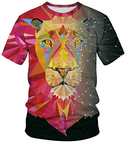 Mädchen Kostüm Ingenieur - Ocean Plus Unisex Rundhals Sportswear T-Shirt Kostüm mit Aufdruck Fasching Größen S-3XL Tops mit Kurzarm (L (Referenzhöhe: 165-170 cm), Roter und schwarzer quadratischer Löwe)