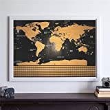 Scratch Map Travel Map Personalized Deluxe Home World Map Poster Vacation National Geographic World Map Wall Sticker Art Paint Black