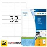 Herma 8643 - Etichette A4 48.3x33.8mm Colore Laser Rectangular Premium - Matte Bianco (320 etichette, 32 per foglio)