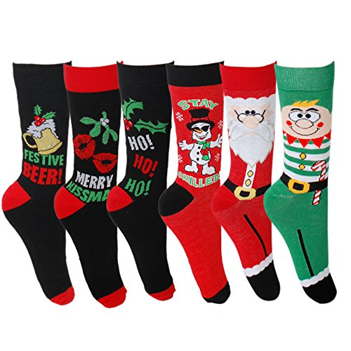 Mens-Novelty-Christmas-Socks-Assorted-Designs-UK-Size-6-11-EU-39-45-Socks-for-Santa-Elf-Ho-Festive-Beer-Snowman-Merry-Kissmas-Xmas-Stocking-filler-Gift