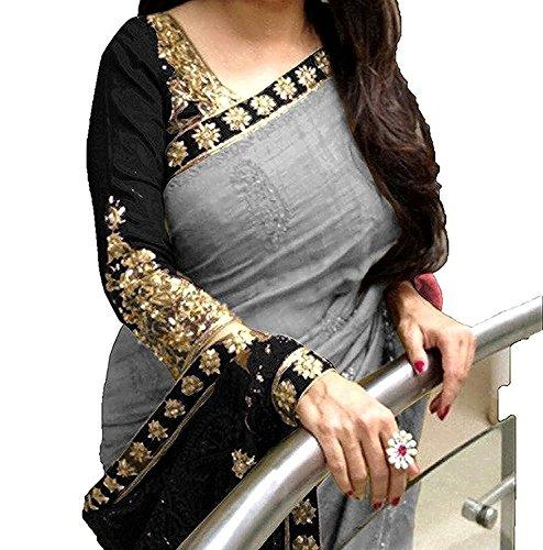 Esomic Women's Velvet Saree With Blouse Piece (Rc-Kb1-15 _Multicolor)