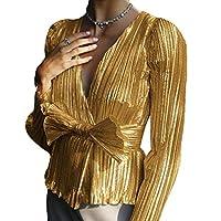 Suncolor8 Women Wrap V Neck Bow Tie Long Sleeve Sparkle Shimmer Shirt Top Blouse Golden M
