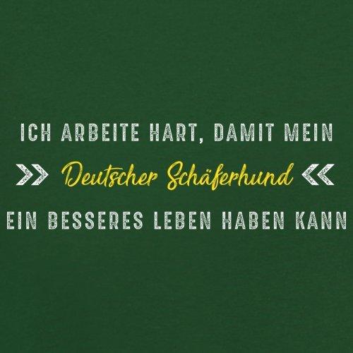 Ich arbeite hart, damit mein Deutscher Schäferhund ein besseres Leben haben kann - Herren T-Shirt - 13 Farben Flaschengrün