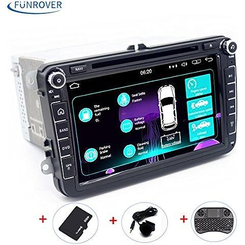 Universale Autoradio per il VW Volkswagen FUNROVER Android 5.1 Car Stereo Radio GPS Navigation 1080P OEM Spine Canbus VW Skoda Sedile (con microfono Extra e Tastiera senza fili) (Autoradio con 8 pollici)